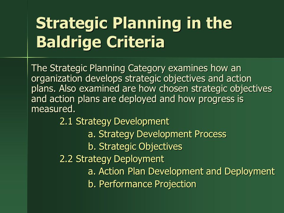 Strategic Planning in the Baldrige Criteria
