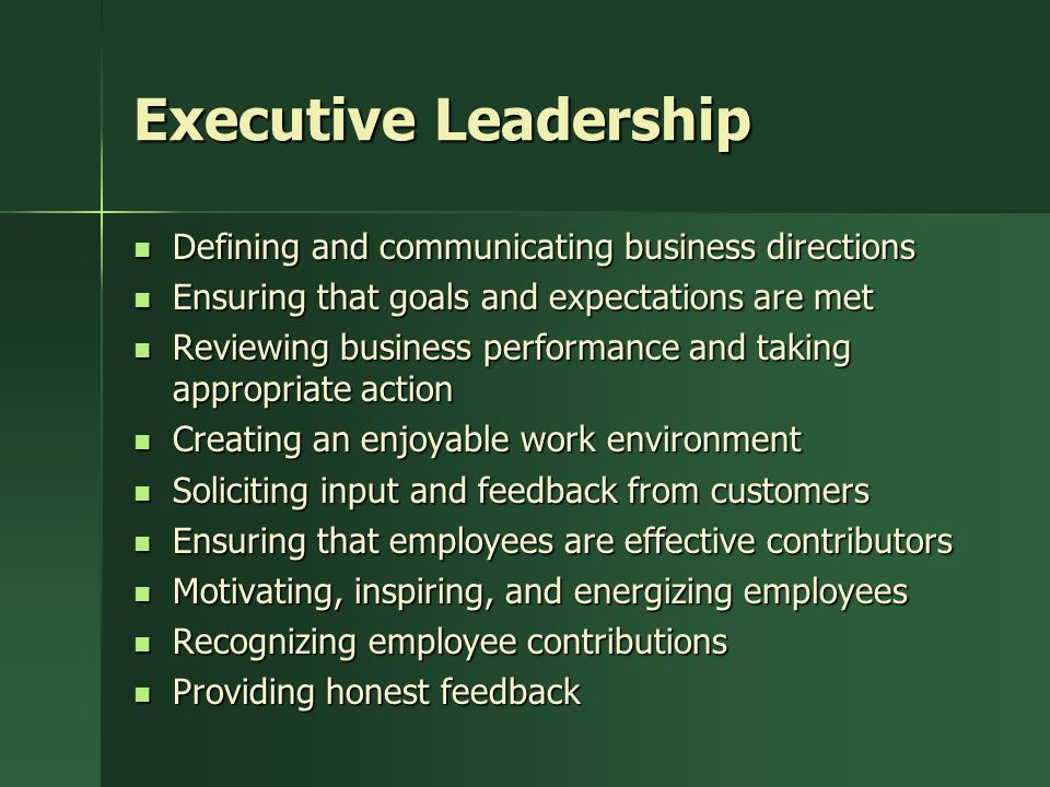 Executive Leadership Defining and communicating business directions