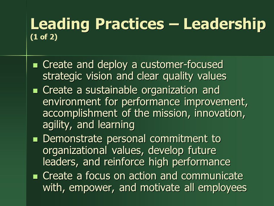 Leading Practices – Leadership (1 of 2)