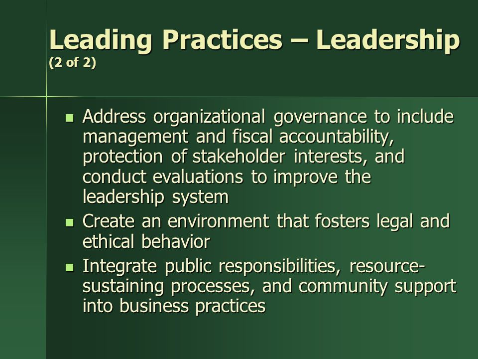 Leading Practices – Leadership (2 of 2)