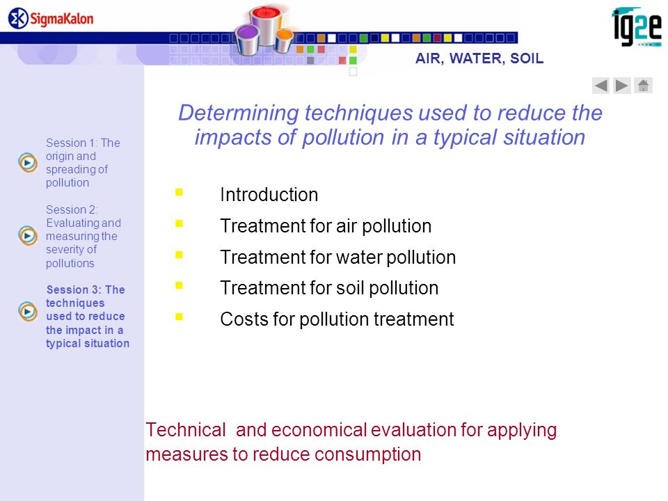 AIR, WATER, SOIL Determining techniques used to reduce the impacts of pollution in a typical situation.