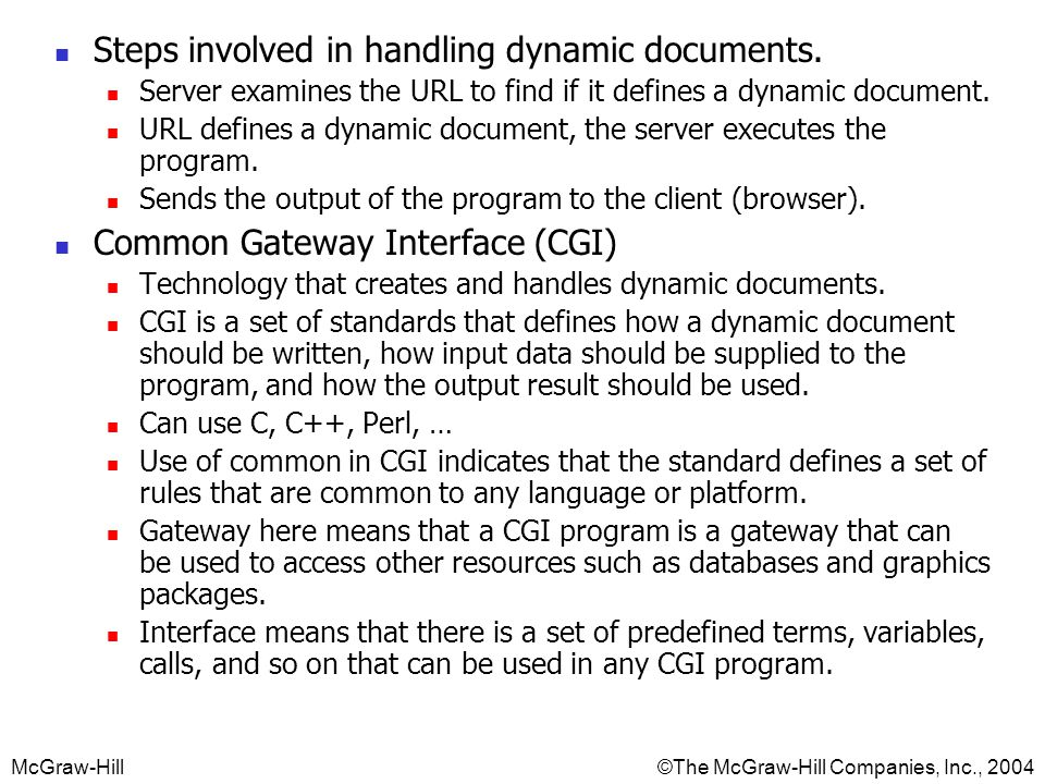 Steps involved in handling dynamic documents.