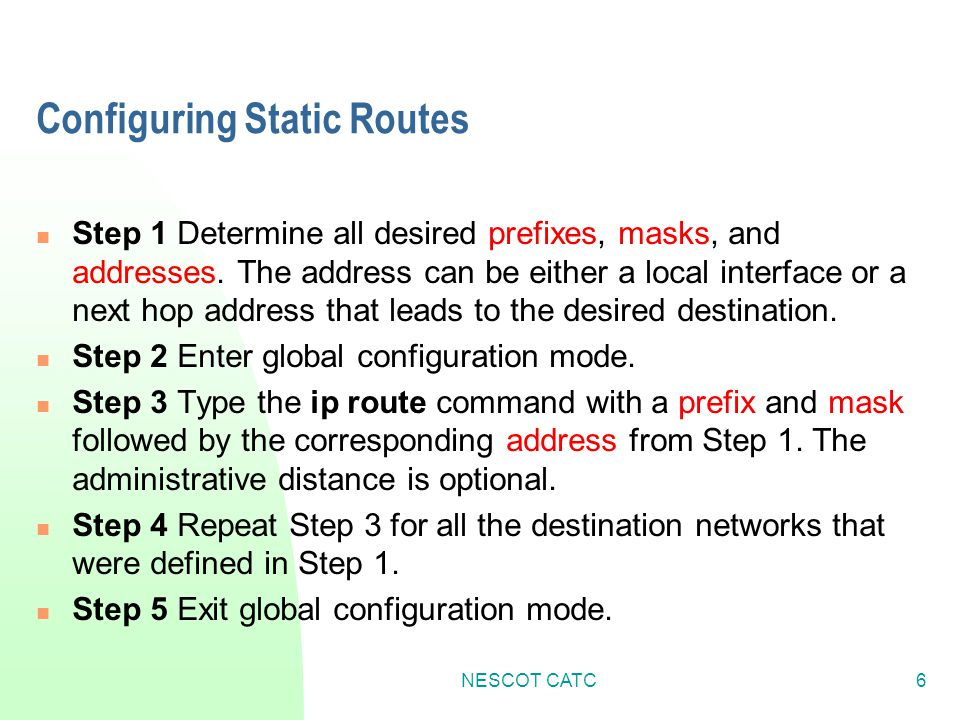 Configuring Static Routes