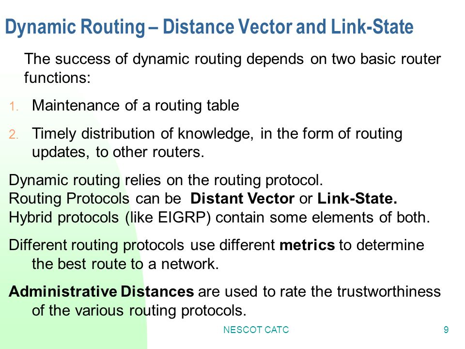 Dynamic Routing – Distance Vector and Link-State