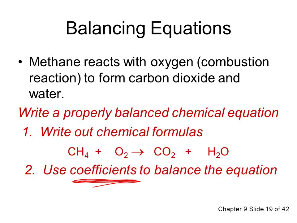 Balanced Chemical Equation For The Combustion Of Methane To Form ...