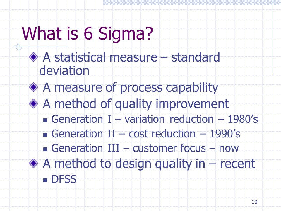 What is 6 Sigma A statistical measure – standard deviation