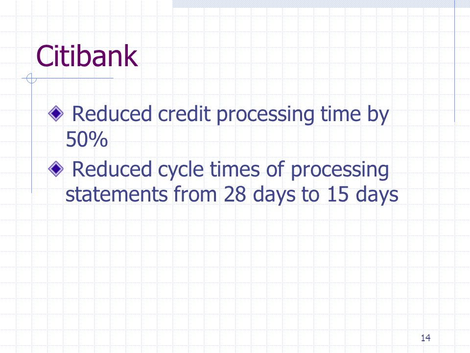 Citibank Reduced credit processing time by 50%
