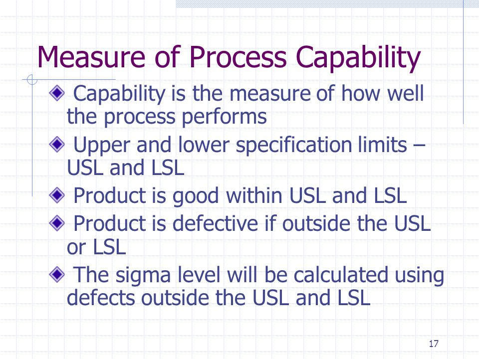 Measure of Process Capability