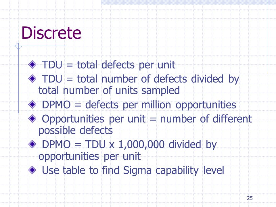Discrete TDU = total defects per unit
