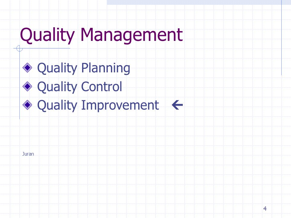 Quality Management Quality Planning Quality Control