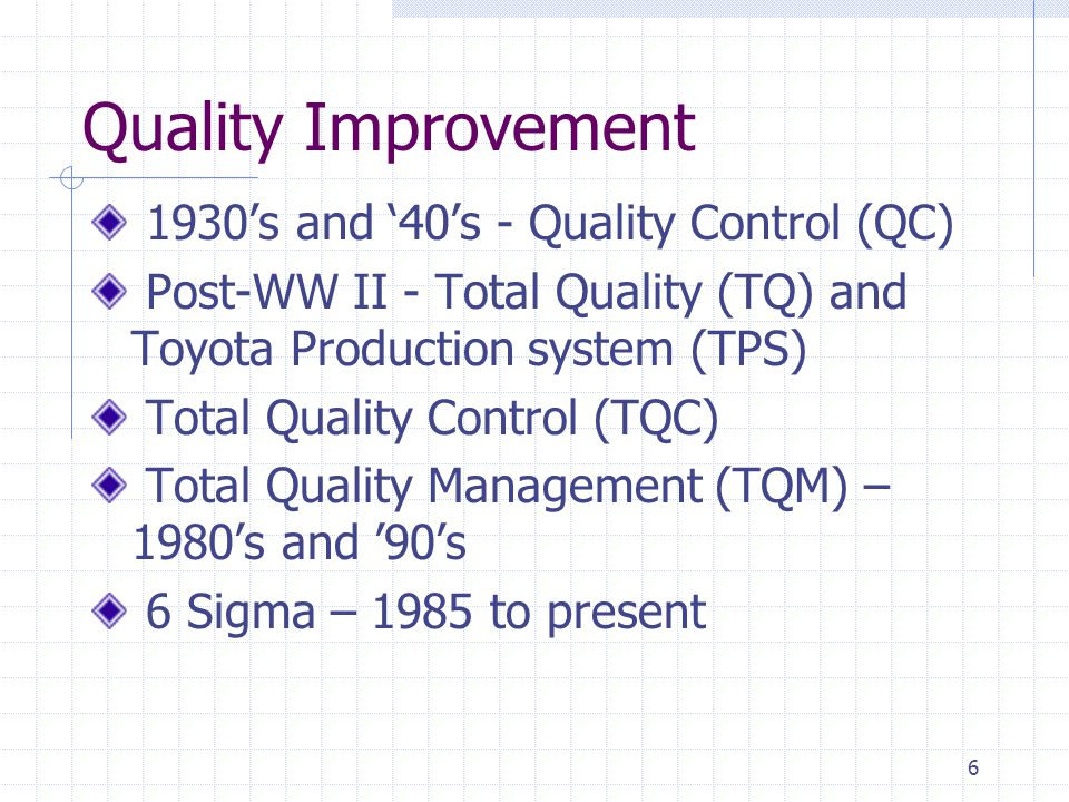 Quality Improvement 1930's and '40's - Quality Control (QC)