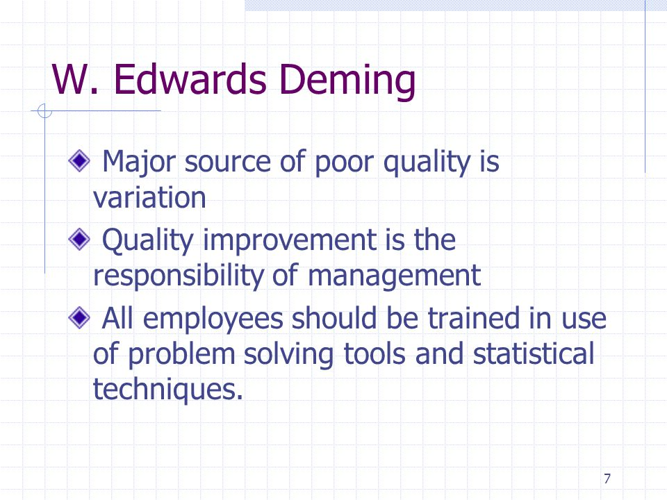 W. Edwards Deming Major source of poor quality is variation