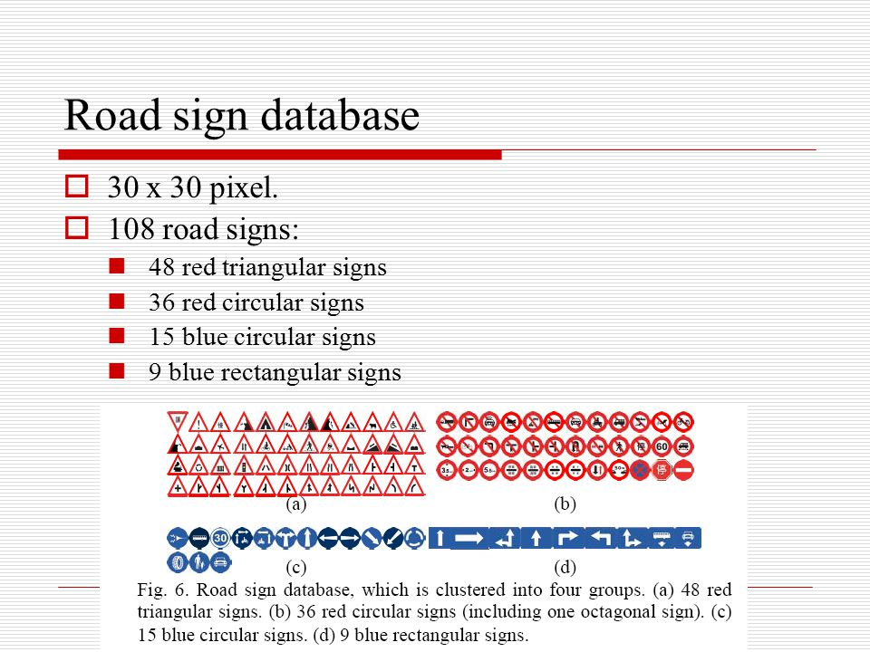 Road sign database 30 x 30 pixel. 108 road signs:
