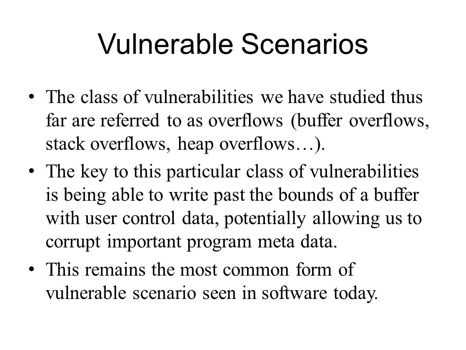 Vulnerable Scenarios