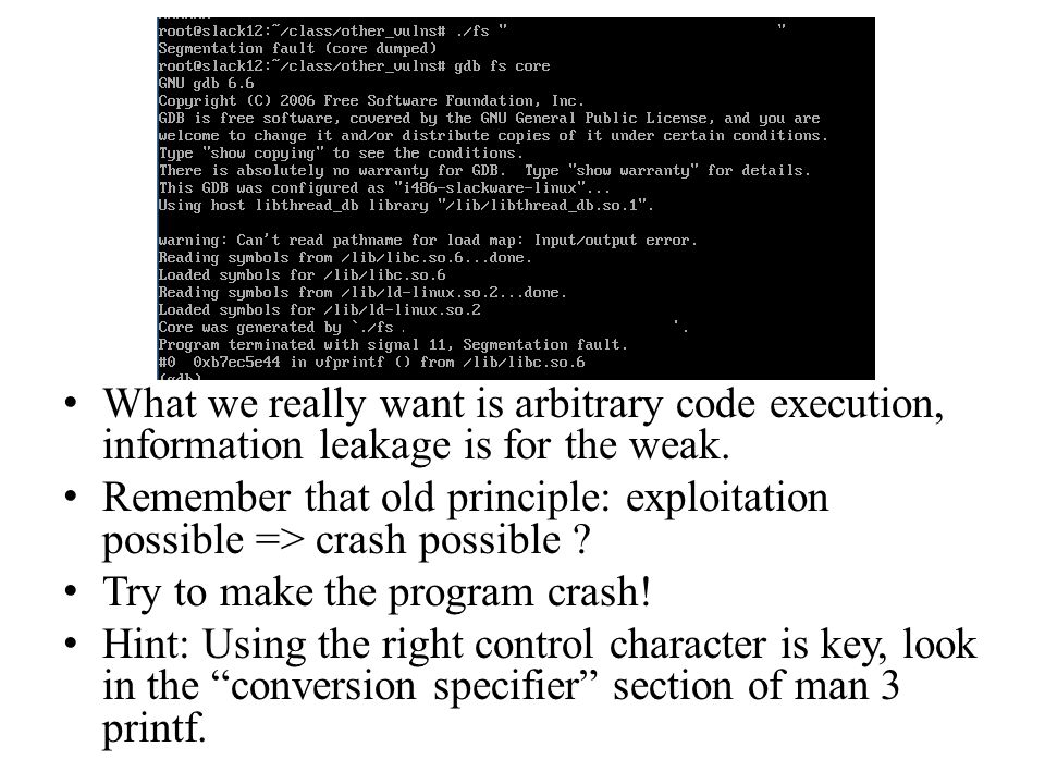 What we really want is arbitrary code execution, information leakage is for the weak.