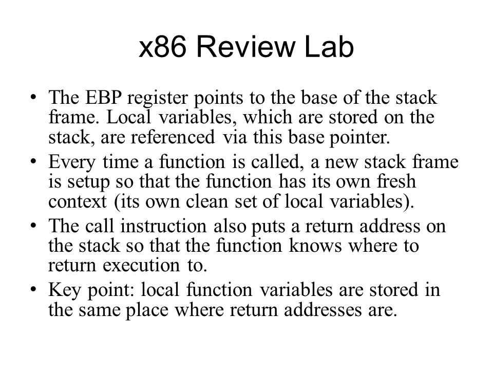 x86 Review Lab