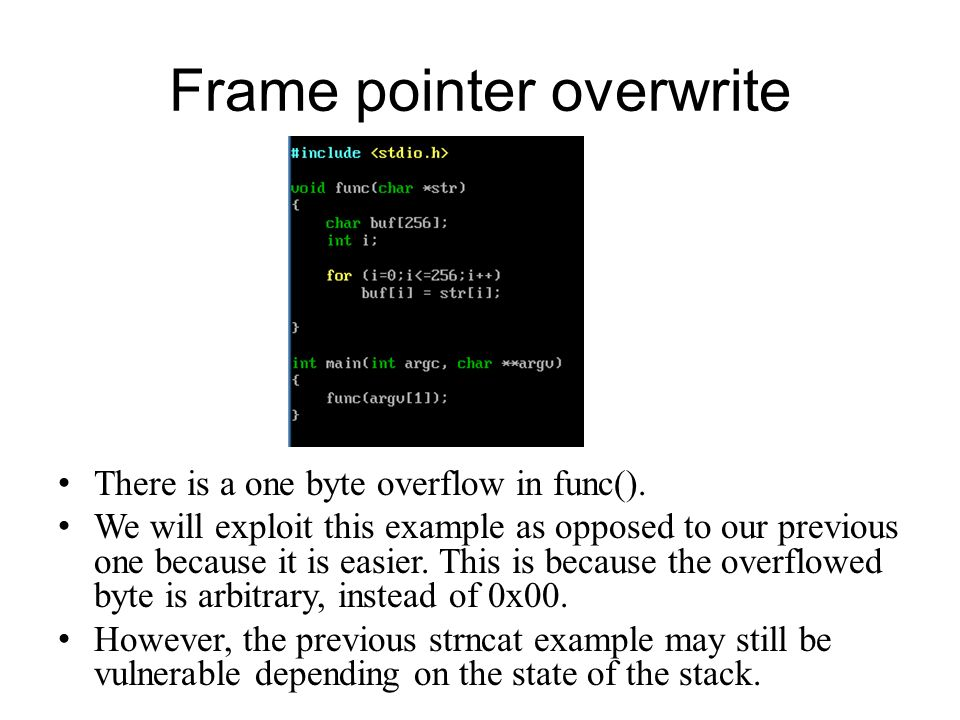 Frame pointer overwrite