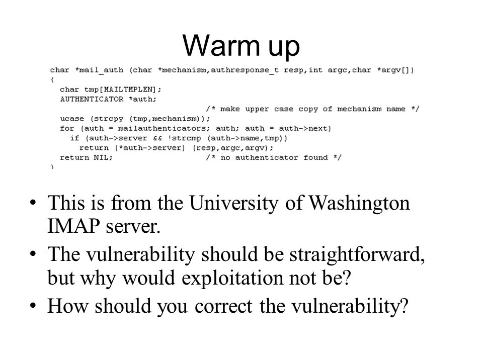 Warm up This is from the University of Washington IMAP server.