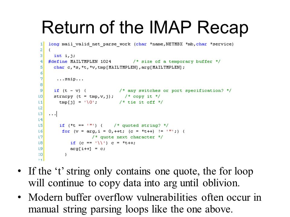 Return of the IMAP Recap