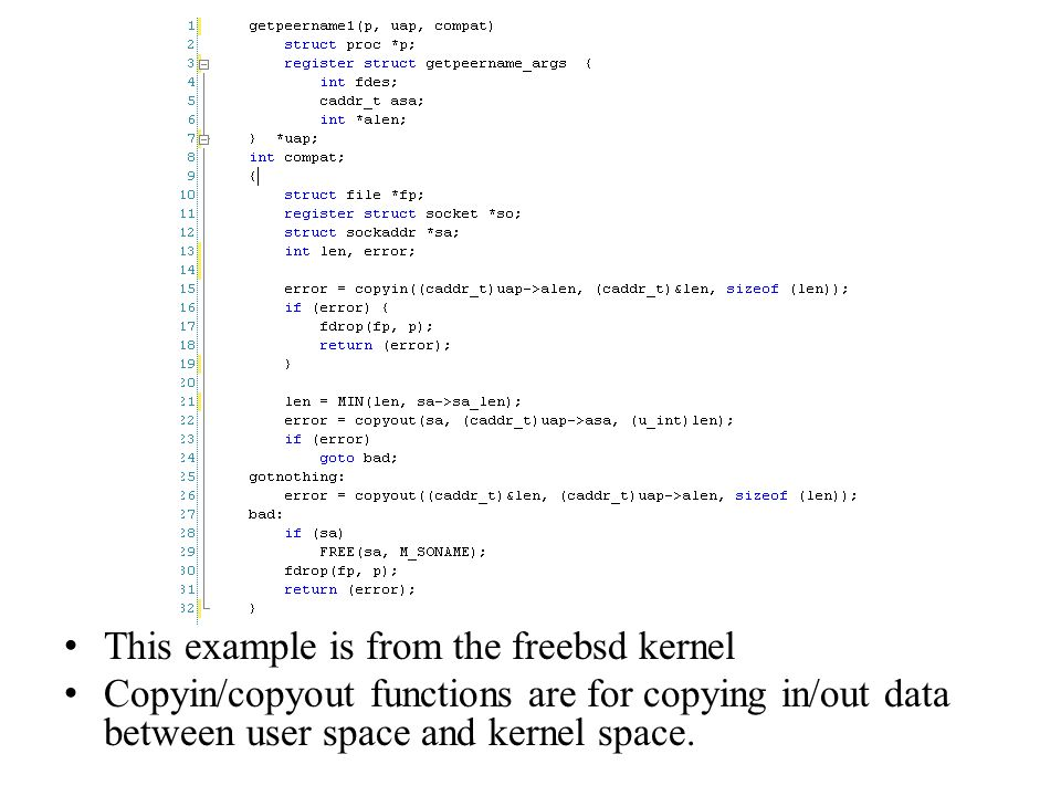 This example is from the freebsd kernel