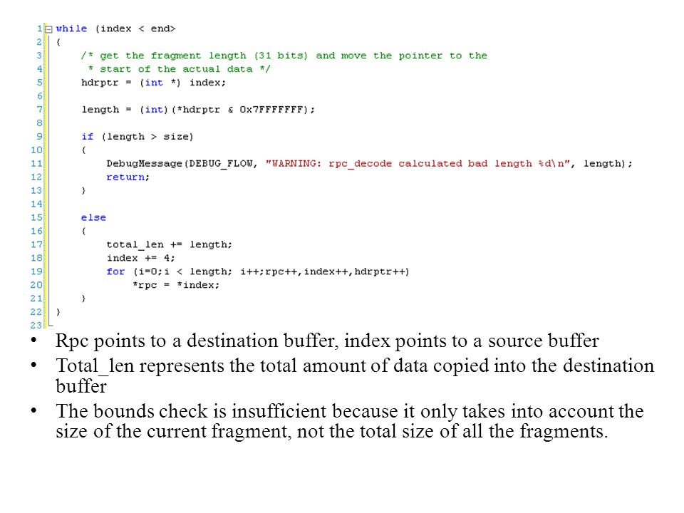 Rpc points to a destination buffer, index points to a source buffer
