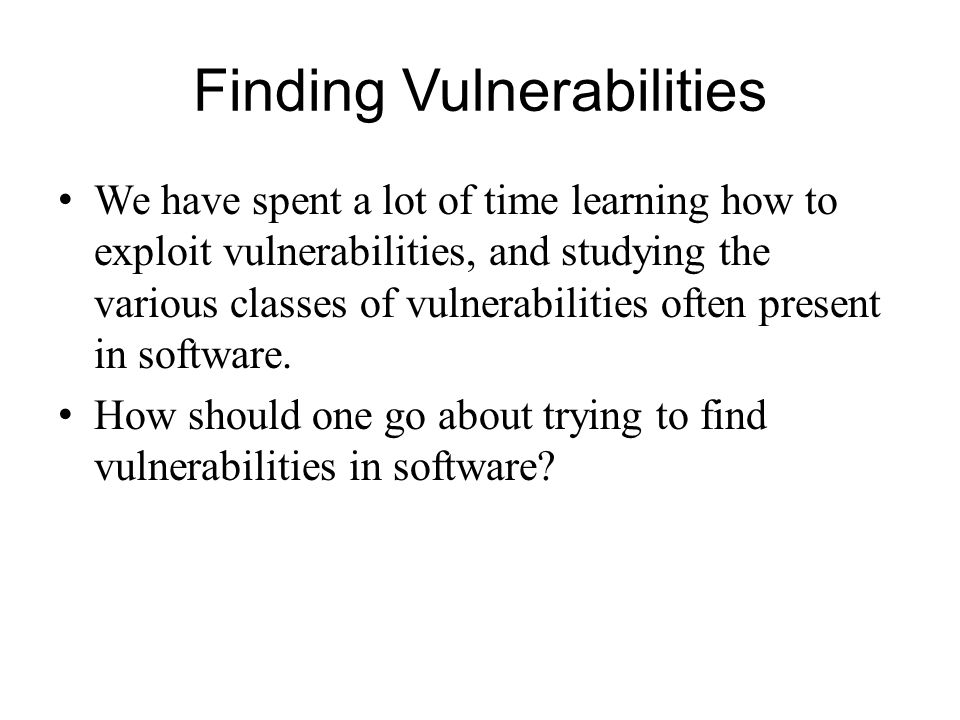 Finding Vulnerabilities