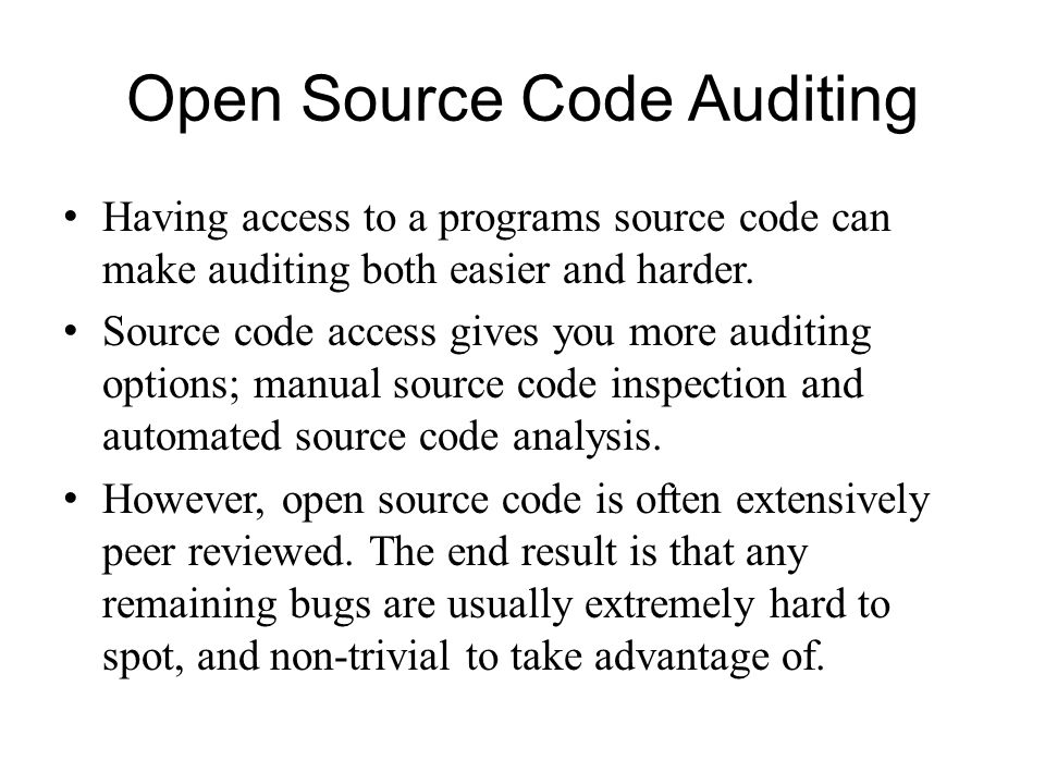 Open Source Code Auditing