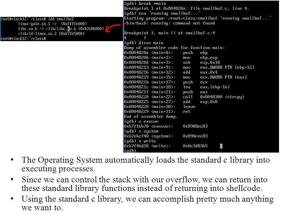 The Operating System automatically loads the standard c library into executing processes.