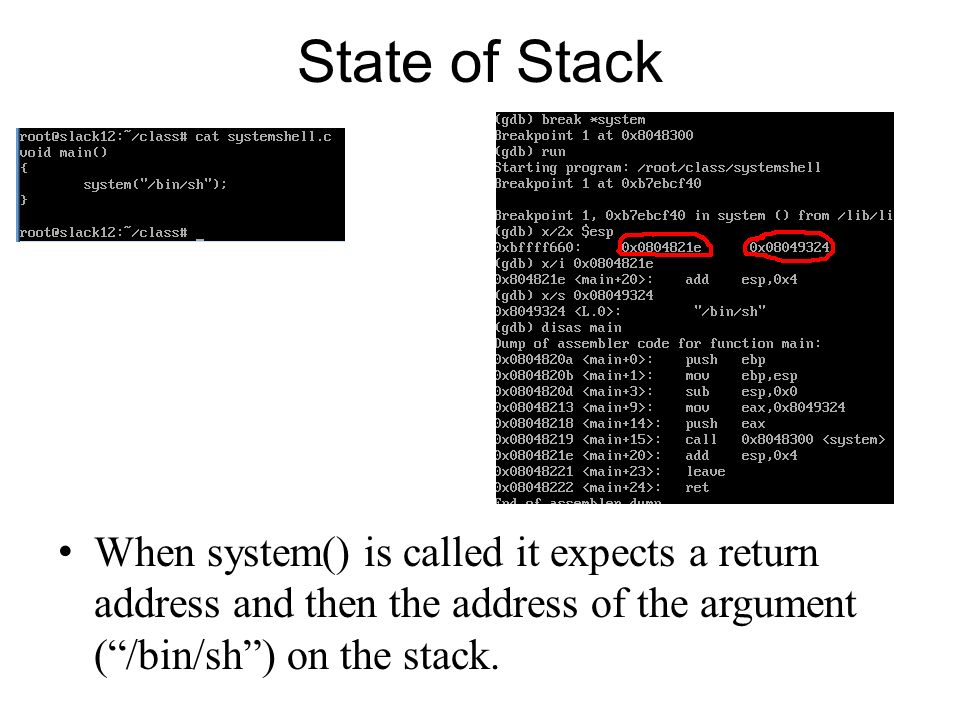 State of Stack When system() is called it expects a return address and then the address of the argument ( /bin/sh ) on the stack.