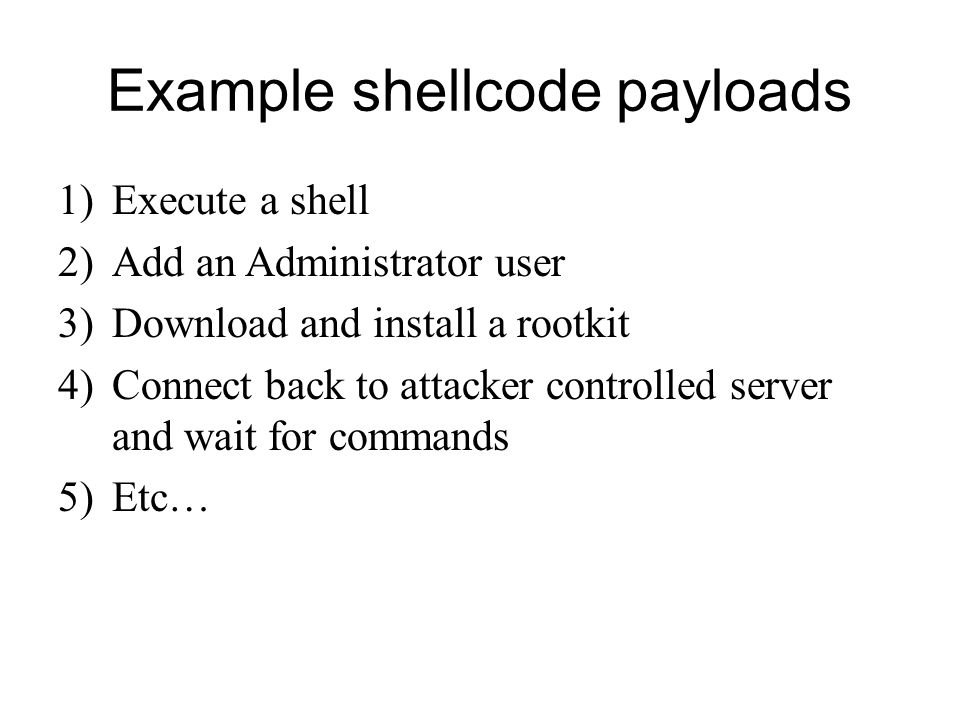 Example shellcode payloads