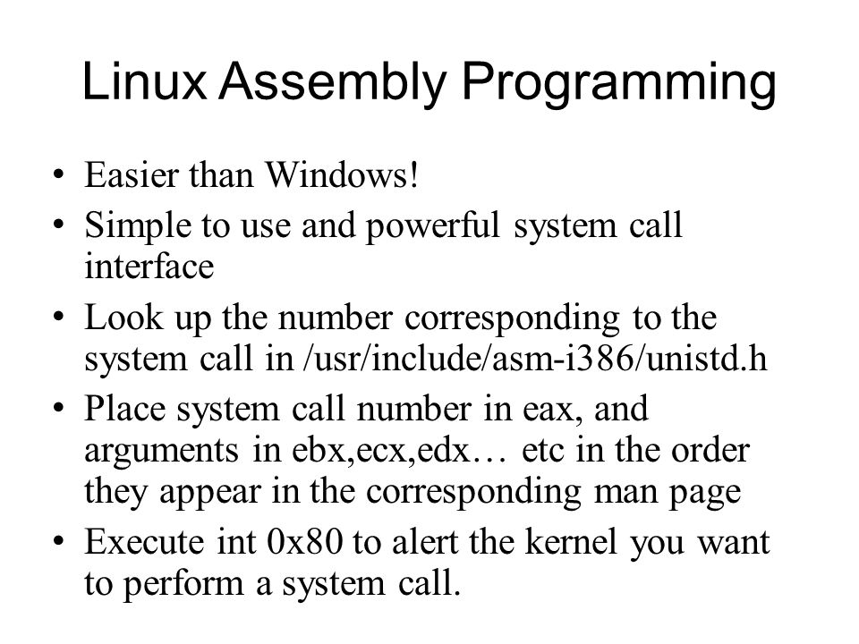 Linux Assembly Programming