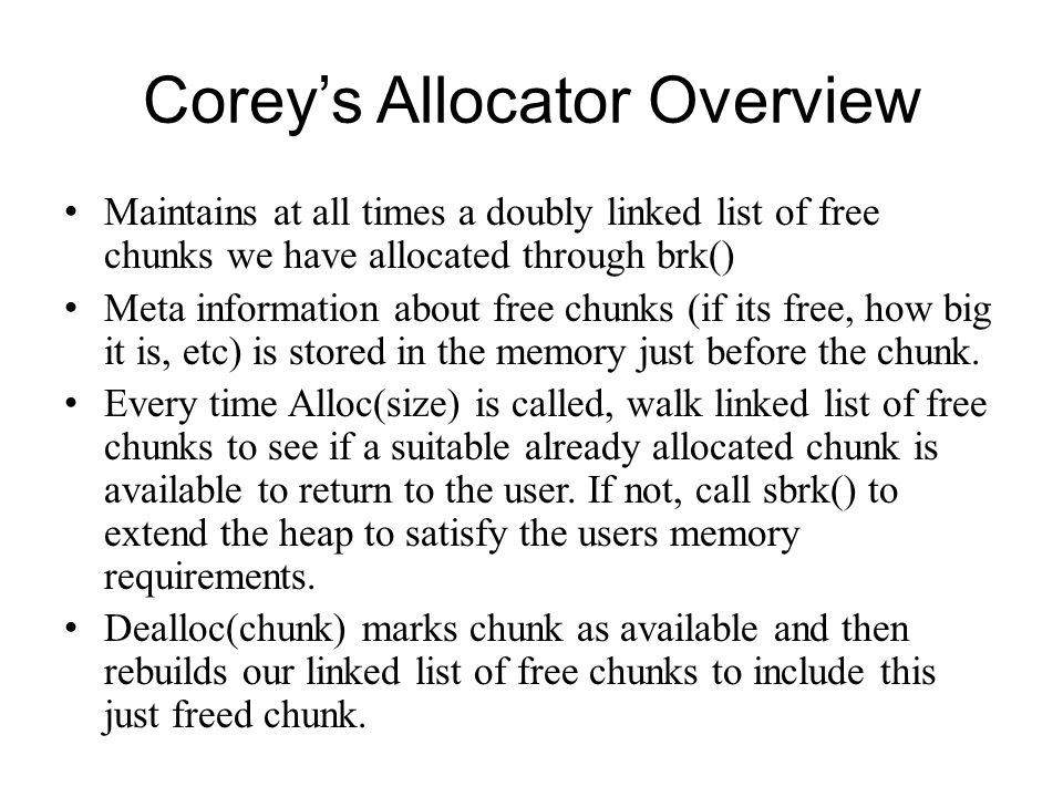 Corey's Allocator Overview