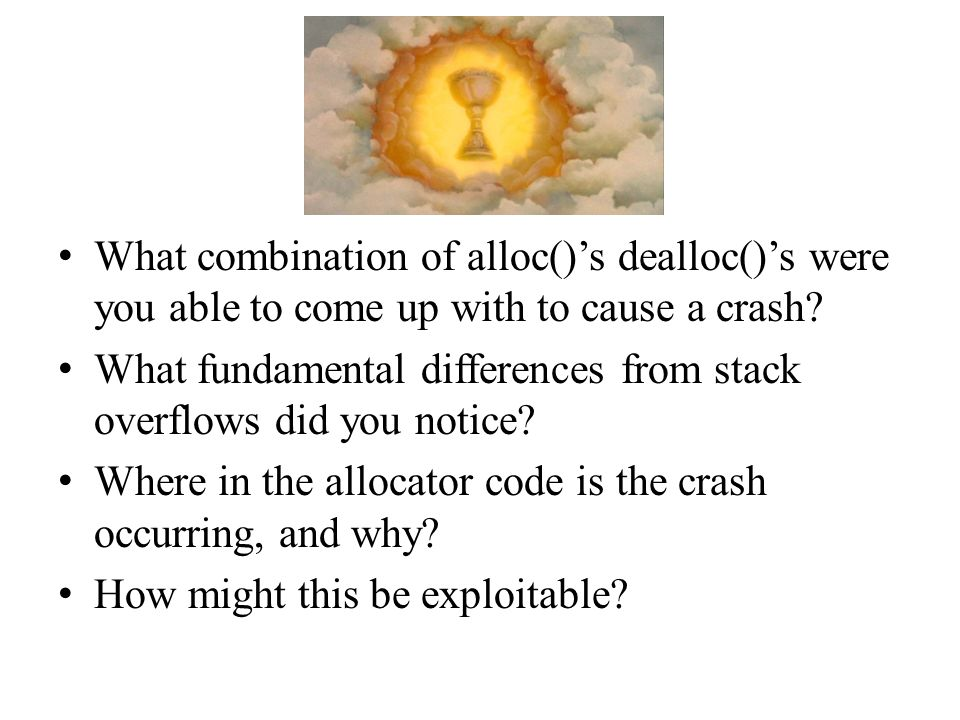 What combination of alloc()'s dealloc()'s were you able to come up with to cause a crash