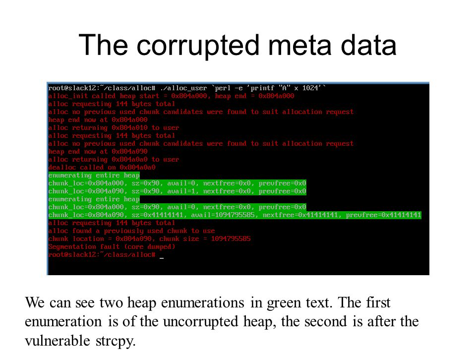 The corrupted meta data