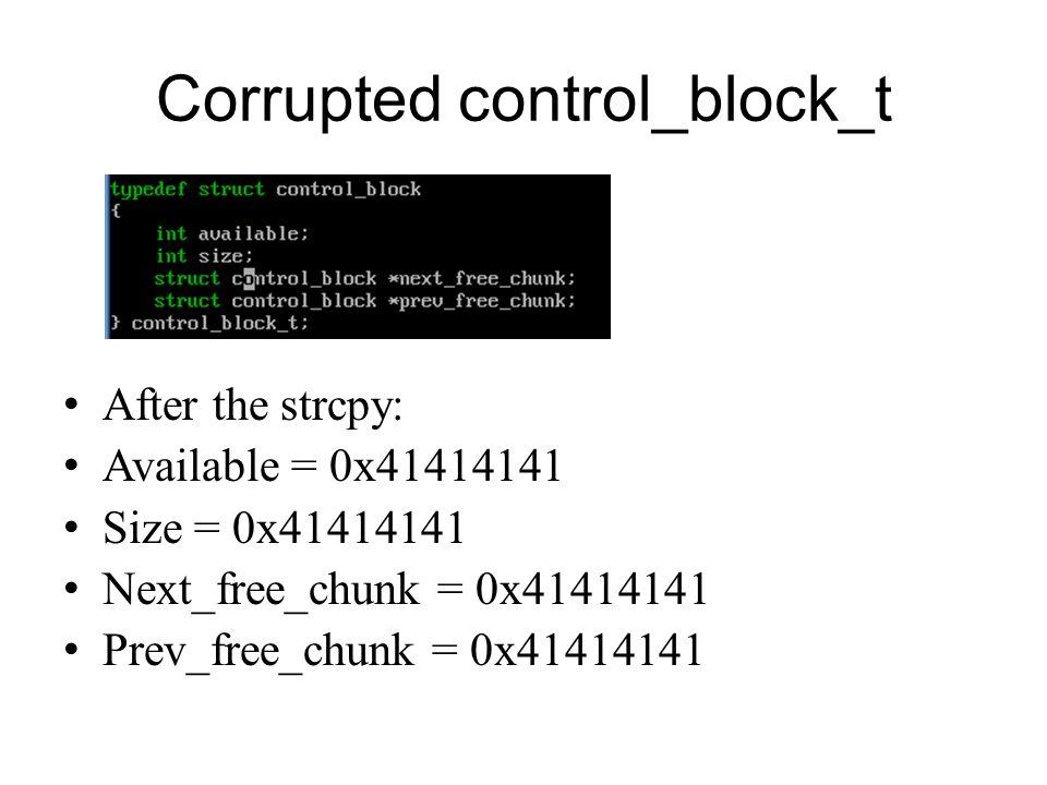 Corrupted control_block_t