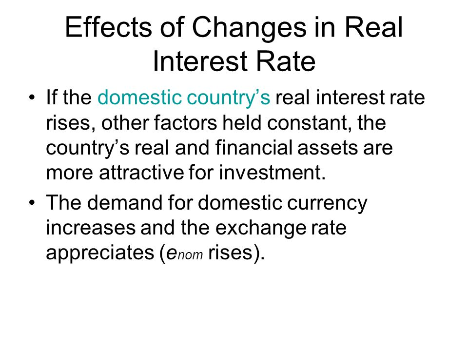 Effects of Changes in Real Interest Rate