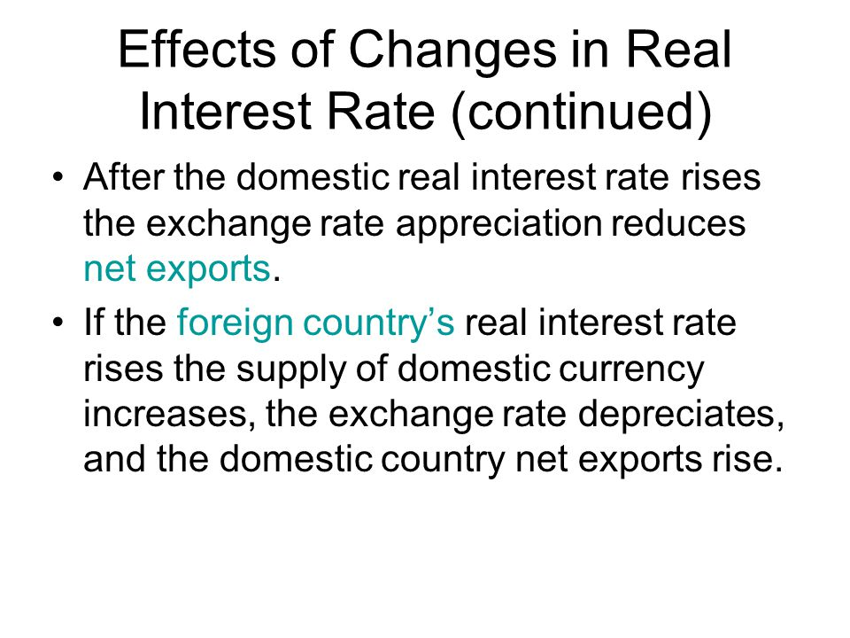Effects of Changes in Real Interest Rate (continued)