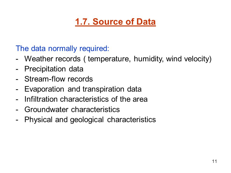 1.7. Source of Data The data normally required:
