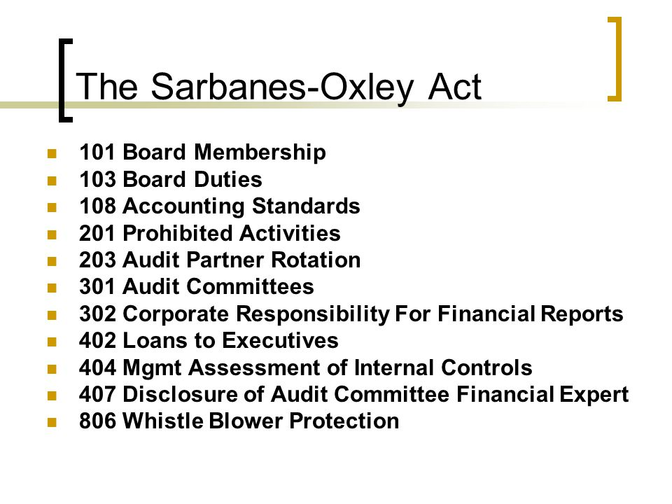 sarbanes oxley and the pcaob The institute of internal auditors / wwwtheiiaorg 3 summary for the ceo and cfo when the us congress passed the sarbanes-oxley act, the intent was to.