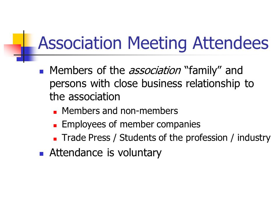 Association Meeting Attendees