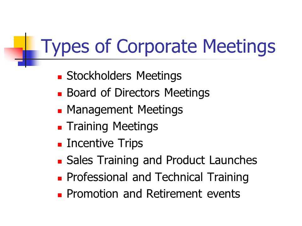 Types of Corporate Meetings