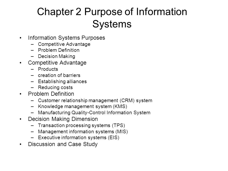 management information systems case study chapter 1 Objectives as a manager, you'll need to know how information systems can make businesses more competitive efficient, and profitable after reading this chapter.