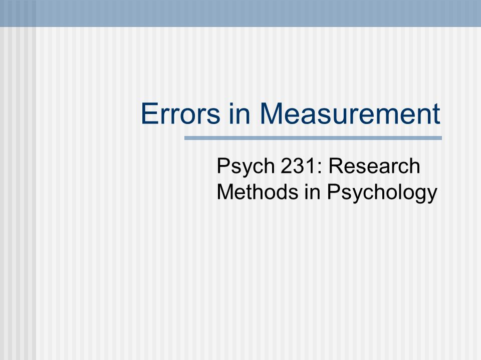 Psych 231: Research Methods in Psychology