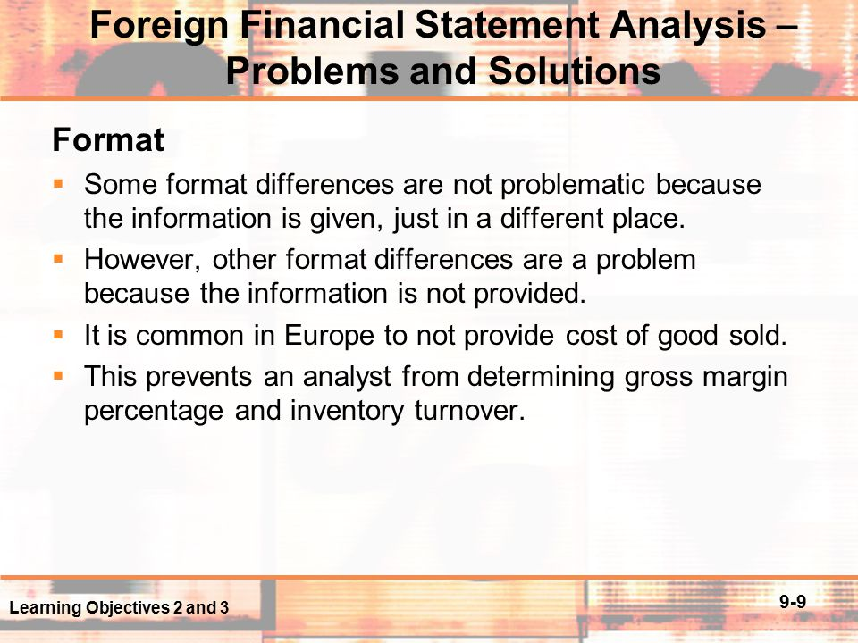 analysis of foreign financial statements Financial reports of banks, the central credit union and foreign bank branches.