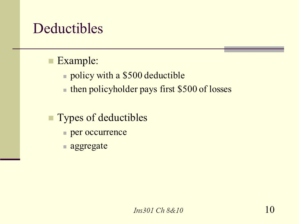 Deductibles Example: Types of deductibles