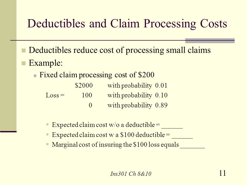 Deductibles and Claim Processing Costs