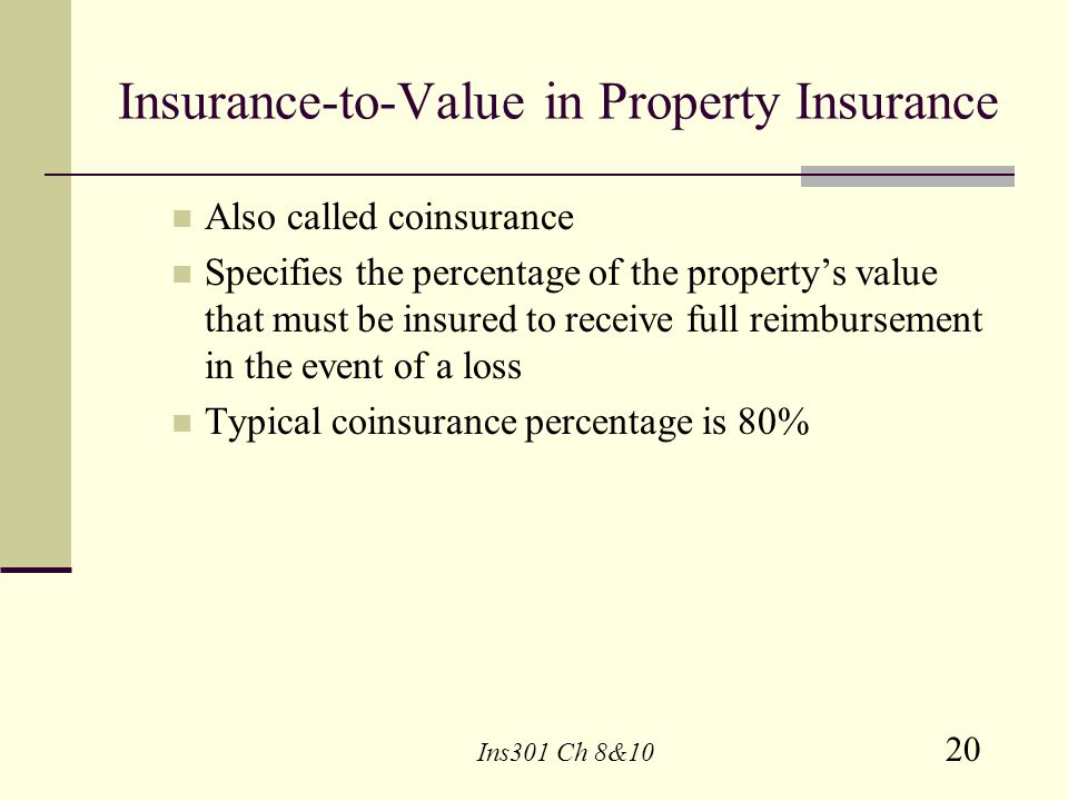 Insurance-to-Value in Property Insurance