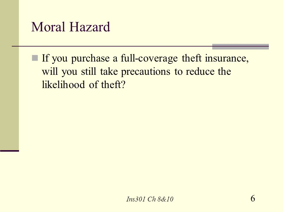 Moral Hazard If you purchase a full-coverage theft insurance, will you still take precautions to reduce the likelihood of theft