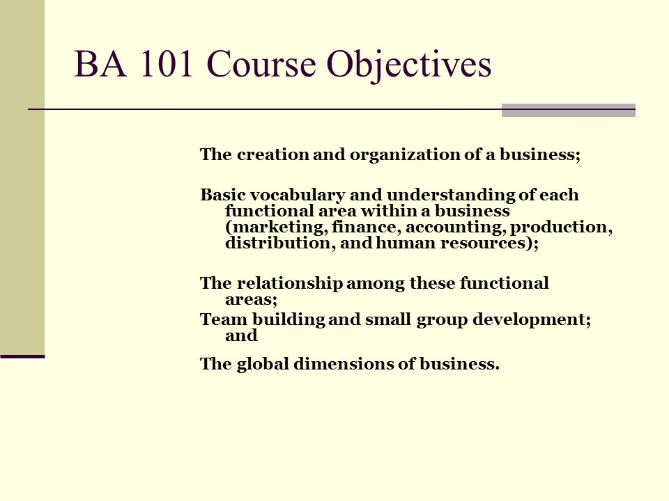 BA 101 Course Objectives The creation and organization of a business;