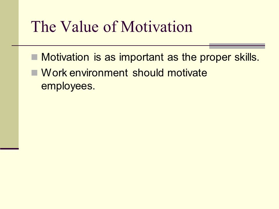 The Value of Motivation